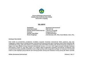 Jurusan Hubungan Internasional Fakultas Ilmu Sosial dan Ilmu Politik Universitas Lampung SILABUS. : Keamanan Internasional