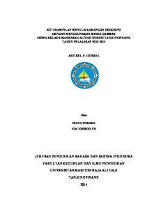 JURUSAN PENDIDIKAN BAHASA DAN SASTRA INDONESIA FAKULTAS KEGURUAN DAN ILMU PENDIDIKAN UNIVERSITAS MARITIM RAJA ALI HAJI TANJUNGPINANG