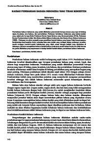 KAIDAH PEMBAKUAN BAHASA INDONESIA YANG TIDAK KONSISTEN