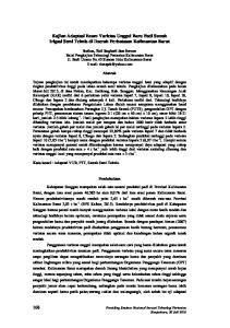 Kajian Adaptasi Enam Varietas Unggul Baru Padi Sawah Irigasi Semi Teknis di Daerah Perbatasan Kalimantan Barat