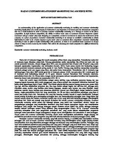 KAJIAN CUSTOMER RELATIONSHIP MARKETING DALAM BISNIS RITEL