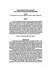 KAJIAN GEOGRAFI POLITIK TERHADAP HASIL PEMILIHAN GUBERNUR JAWA BARAT 2008