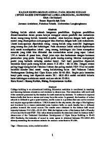 KAJIAN KENYAMANAN AUDIAL PADA RUANG KULIAH ( STUDI KASUS UNIVERSITAS LANGLANGBUANA, BANDUNG)