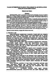 KAJIAN KEPEMIMPINAN WALIKOTA PEKALONGAN DALAM MEWUJUDKAN KESEJAHTERAAN MASYARAKAT. Muhammad Adnan
