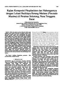Kajian Komposisi Fitoplankton dan Hubungannya dengan Lokasi Budidaya Kerang Mutiara (Pinctada Maxima) di Perairan Sekotong, Nusa Tenggara Barat