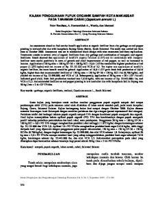 KAJIAN PENGGUNAAN PUPUK ORGANIK SAMPAH KOTA MAKASSAR PADA TANAMAN CABAI (Capsicum annum L)