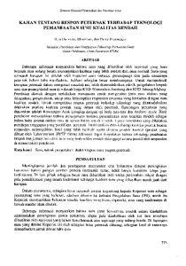 KAJIAN TENTANG RESPON PETERNAK TERHADAP TEKNOLOGI PEMANFAATAN SUSU KUALITAS RENDAH