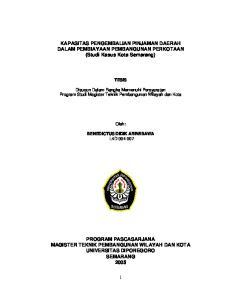 KAPASITAS PENGEMBALIAN PINJAMAN DAERAH DALAM PEMBIAYAAN PEMBANGUNAN PERKOTAAN (Studi Kasus Kota Semarang)