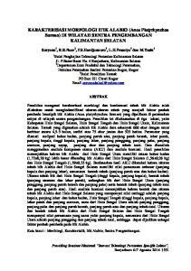 KARAKTERISASI MORFOLOGI ITIK ALABIO (Anas Platyrhynchos Borneo) DI WILAYAH SENTRA PENGEMBANGAN KALIMANTAN SELATAN