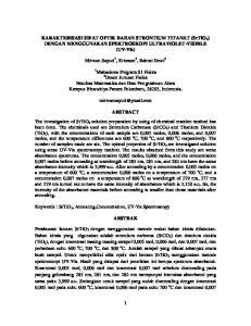 KARAKTERISASI SIFAT OPTIK BAHAN STRONTIUM TITANAT (SrTiO 3 ) DENGAN MENGGUNAKAN SPEKTROSKOPI ULTRAVIOLET-VISIBLE (UV-Vis)