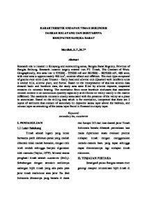 KARAKTERISTIK ENDAPAN TIMAH SEKUNDER DAERAH KELAYANG DAN SEKITARNYA KEBUPATEN BANGKA BARAT. Mardiah, S.T.,M.T* Abstract