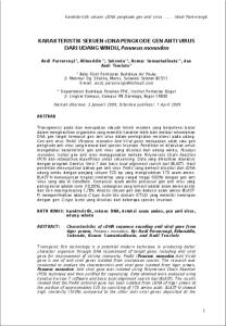 KARAKTERISTIK SEKUEN cdna PENGKODE GEN ANTI VIRUS DARI UDANG WINDU, Penaeus monodon