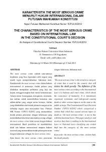 KARAKTERISTIK THE MOST SERIOUS CRIME MENURUT HUKUM INTERNASIONAL DALAM PUTUSAN MAHKAMAH KONSTITUSI
