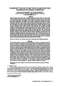 Karakteristik Traksi dan Kinerja Transmisi pada Sistem Gear Transmission dan Gearless Transmission