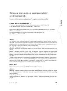 Karcinom endometria a psychosomatický profil nemocných