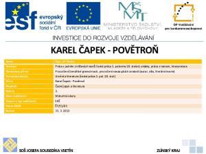 KAREL ČAPEK - POVĚTROŇ