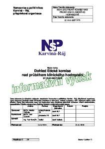 Karviná-Ráj. Název normy Dohled Etické komise nad průběhem klinického hodnocení