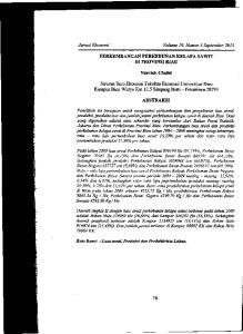 Kata Kunci : Luas areal, Produksi dan ProduktivUas Lahan. Jtimal Ekonomi Volume 19, Nomor 3 September 2011