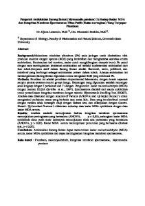 Kata kunci : Plumbum, malondyaldehide, Integritas membran spermatozoa, Myrmecodia pendans