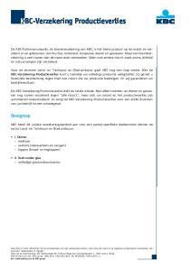 KBC-Verzekering Productieverlies
