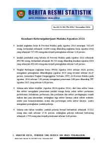 Keadaan Ketenagakerjaan Maluku Agustus 2016