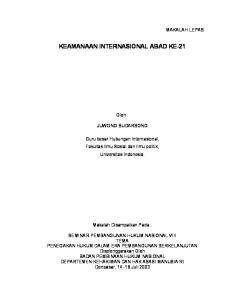 KEAMANAAN INTERNASIONAL ABAD KE-21