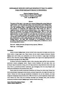 KEBIJAKAN HEDGING DENGAN DERIVATIF VALUTA ASING PADA PERUSAHAAN PUBLIK DI INDONESIA
