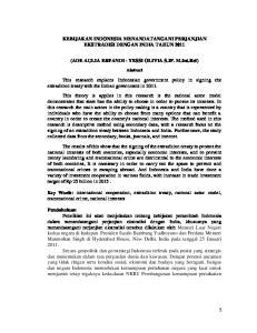 KEBIJAKAN INDONESIA MENANDATANGANI PERJANJIAN EKSTRADISI DENGAN INDIA TAHUN (ADE AULIA ERFANDI - YESSI OLIVIA S.IP. M.Int