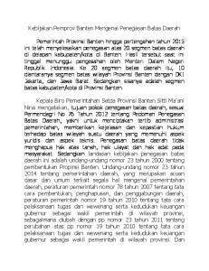 Kebijakan Pemprov Banten Mengenai Penegasan Batas Daerah
