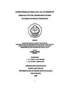KEBIJAKAN POLITIK ABDURRAHMAN WAHID DAN SUSILO BAMBANG YUDHOYONO