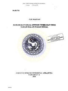 KEDlJDUKAN LEGAL OPINION TERHADAP EMIS) SAHAM DALAM PASAR MODAL