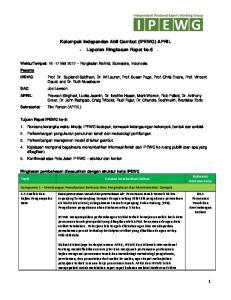 Kelompok Independen Ahli Gambut (IPEWG) APRIL - Laporan Ringkasan Rapat ke-6 -