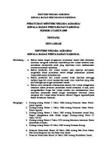 KEPALA BADAN PERTAHANAN NASIONAL NOMOR 2 TAHUN 1999 TENTANG IZIN LOKASI