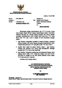 Kepala Badan Pertanahan Nasional (sebagai laporan)