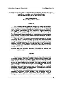 KEPEMILIKAN MANAJERIAL, KESEMPATAN INVESTASI, RISIKO FINANSIAL, DAN NILAI PERUSAHAAN YANG TERDAFTAR DI INDEKS SAHAM SYARIAH INDONESIA (ISSI)