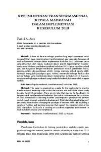 KEPEMIMPINAN TRANSFORMASIONAL KEPALA MADRASAH DALAM IMPLEMENTASI KURIKULUM 2013