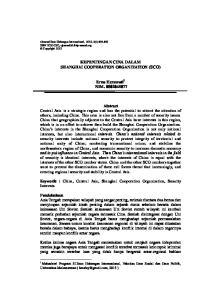 KEPENTINGAN CINA DALAM SHANGHAI COOPERATION ORGANIZATION (SCO) Erna Herawati 1 NIM