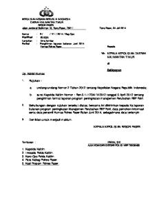 KEPOLISIAN NEGARA REPUBLIK INDONESIA DAERAH KALIMANTAN TIMUR RESOR PASER Jalan Jenderal Sudirman 19, Tana Paser, Tana Paser, 04 Juli 2014