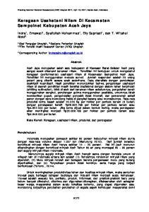 Keragaan Usahatani Nilam Di Kecamatan Sampoinet Kabupaten Aceh Jaya