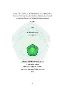 KERJASAMA BUDIDAYA IKAN KERAPU ANTARA PENGGARAP DENGAN PEMODAL TINJAUAN HUKUM PERDATA DAN HUKUM ISLAM