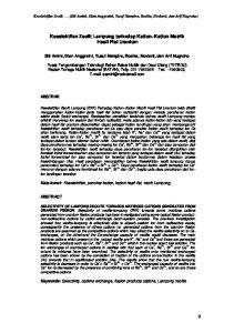 Keselektifan Zeolit Lampung terhadap Kation Kation Matrik Hasil Fisi Uranium