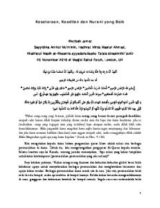Kesetaraan, Keadilan dan Nurani yang Baik أما بعد فا عوذ باالله من الشيطان الرجيم