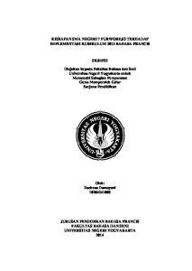 KESIAPAN SMA NEGERI 7 PURWOREJO TERHADAP IMPLEMENTASI KURIKULUM 2013 BAHASA PRANCIS SKRIPSI
