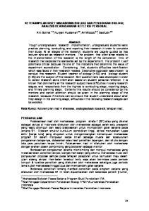 KETERAMPILAN RISET MAHASISWA BIOLOGI DAN PENDIDIKAN BIOLOGI; ANALISIS BERDASARKAN REFLEKSI PERSONAL