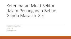 Keterlibatan Multi-Sektor dalam Penanganan Beban Ganda Masalah Gizi RO GER SH RI M PTON