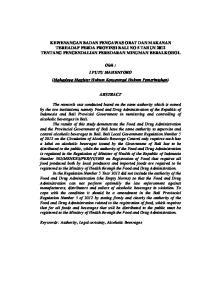KEWENANGAN BADAN PENGAWAS OBAT DAN MAKANAN TERHADAP PERDA PROVINSI BALI NO 5 TAHUN 2012 TENTANG PENGENDALIAN PEREDARAN MINUMAN BERALKOHOL