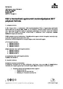 K&H a fenntartható agráriumért ösztöndíjpályázat 2017 pályázati felhívás