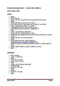 Kinderdienst Biddag Bedum 13 maart 2013, uur. Thema: Samen delen. Liturgie