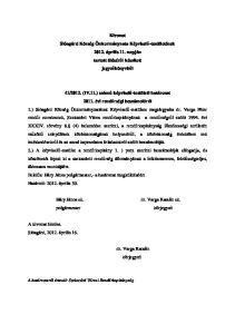 Kivonat Sióagárd Község Önkormányzata Képviselő-testületének április 11. napján tartott üléséről készített jegyzőkönyvből
