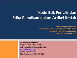 Kode Etik Penulis dan Etika Penulisan dalam Artikel Ilmiah